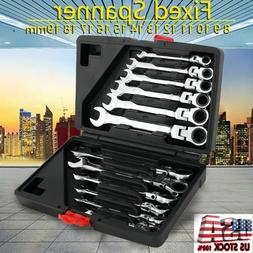 12 pc 8-19mm Metric Flexible Head Ratcheting Wrench Spanner