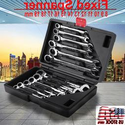 12x 8-19mm Metric Fixed Head Ratcheting Wrench Combination S