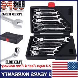 12pcs Metric Flexible Spanners Ratchet Wrench Polished Tool