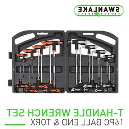 16 Piece T-Handle Allen wrench Set Long Arm Ball End Hex Key