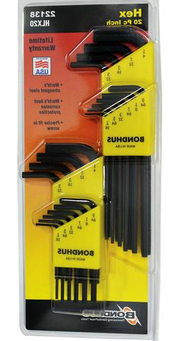 20pc Standard 1/16-1/4 Hex  End Short/Long L-Wrench Set Bond