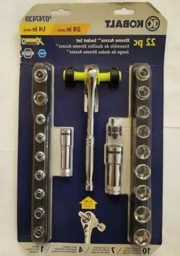 KOBALT 22 pc Xtreme Access Pass Thru Socket Drive Ratchet To