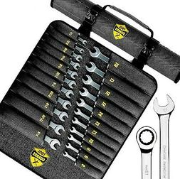 ToolGuards - 22 Pieces Ratcheting Wrench Set with Roll Bag