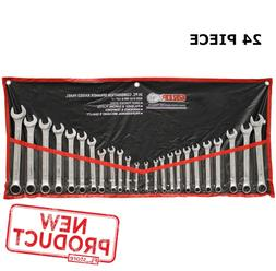 24 Piece Combination Wrench Set SAE Metric Steel Hand Tool W