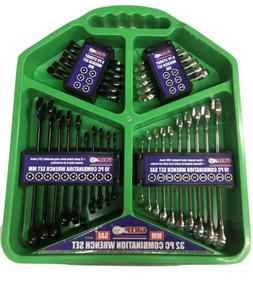 GRIP 32pc SAE MM Combination 12pt Fully Polished Wrenches To