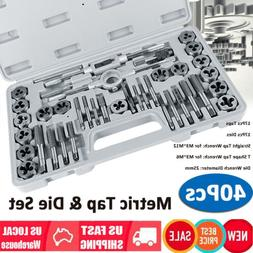 40PC Carbon Steel SAE & METRIC Tap and Die Set Adjustable Wr