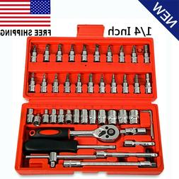 46pcs Ratchet Torque Wrench Kit Hand Tools For Car 1/4-Inch