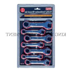 KING 7PC STUBBY COMBINATION WRENCH OPEN RING SPANNER SET, ME