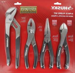 Husky 861461 4 Piece High Leverage Multi-Use Pliers Set with
