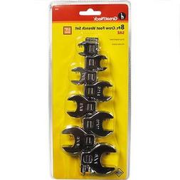 """Great Neck 8pc 3/8"""" SAE Crow Foot Wrenches Standard Set with"""