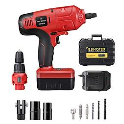 VETOMILE 18V Cordless Impact Drill Driver Kit and 1/2 Inch E