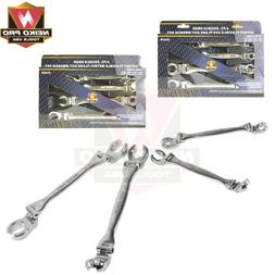 4pc Double Head Offset Flexible Flare Nut Wrench Set SAE Cro