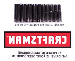 "Craftsman 10 Piece Standard 1/4"" Drive 12 Point Deep Well So"
