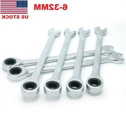 Flexible Head Ratchet Metric Spanner Open End And Ring Wrenc