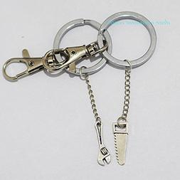 Hand Saw Spanner Keychain - Silver Creepy Jewelry Horror Zom