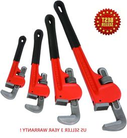 """Heavy Duty Pipe Wrench  4pc Adjustable Set 8"""" 10"""" 14"""" 18""""  M"""