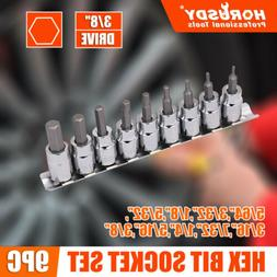 """3/8"""" Drive Socket Bit Hex Key Allen Wrench Set 9pc SAE with"""