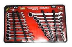 Husky 20-piece combination ratcheting wrench set SAE/MM 1000