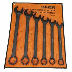 "6 PC Jumbo SAE Wrench Black Oxide Raised Panel 1-3/8"" to 2"""