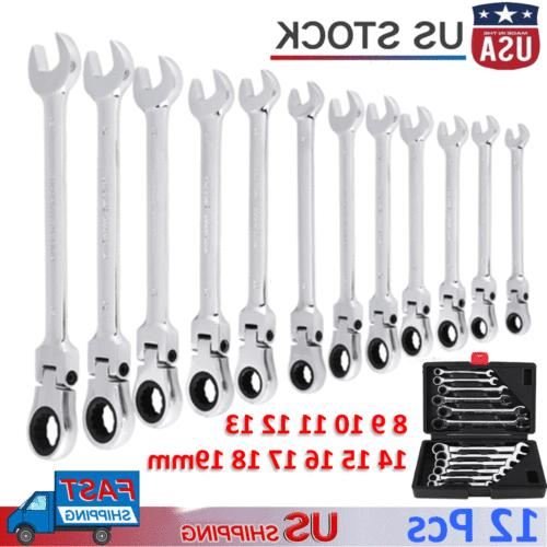 12pcs metric flexible spanners ratchet wrench polished