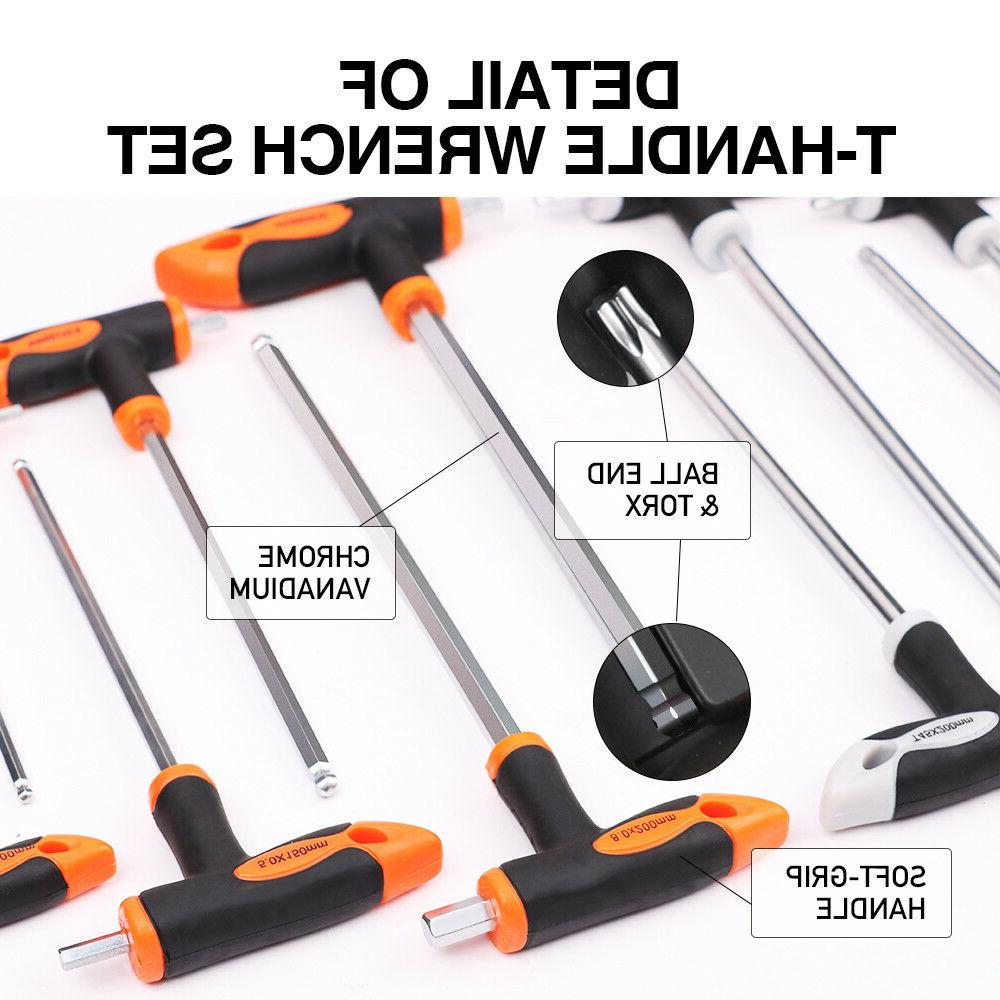 16Pc T-Handle Hex Key & Set End Drive Wrench