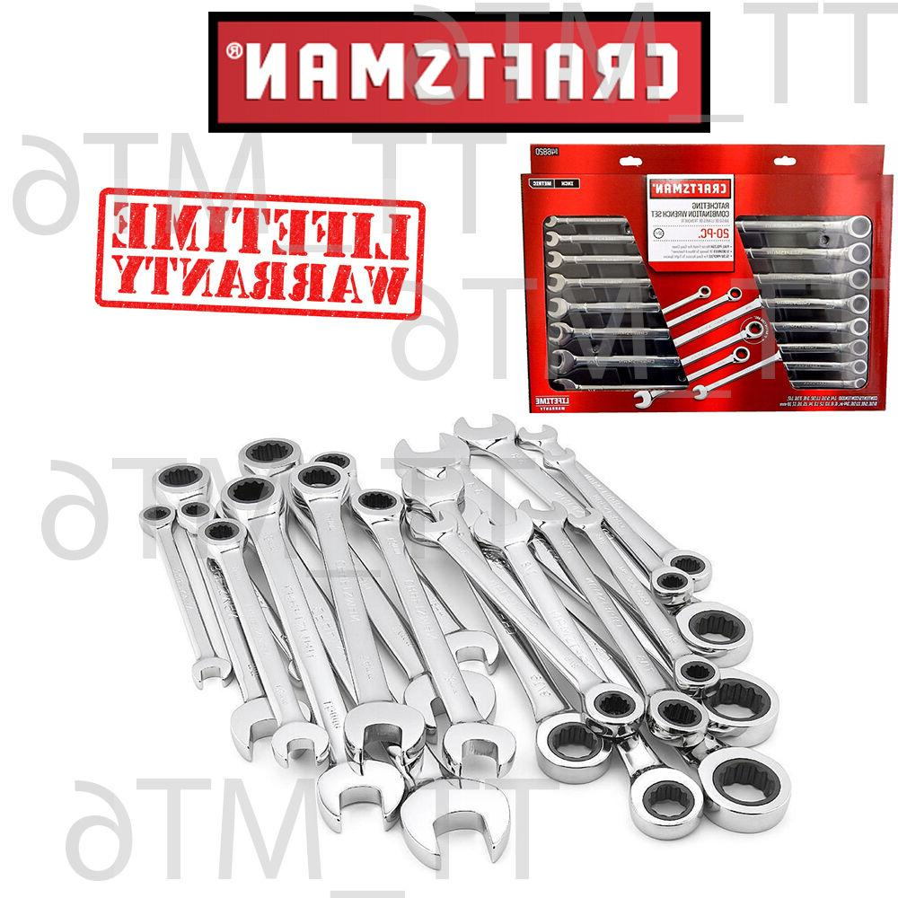20 pc combination ratcheting wrench set metric