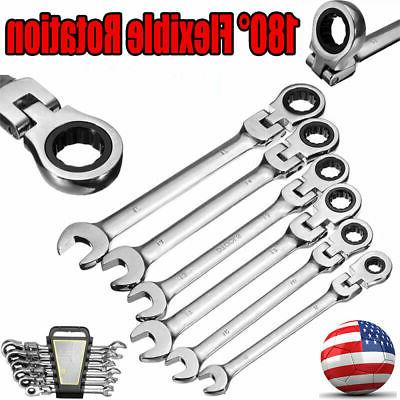 6 Pcs Flexible Wrench Reversible Ratcheting Combination Wren