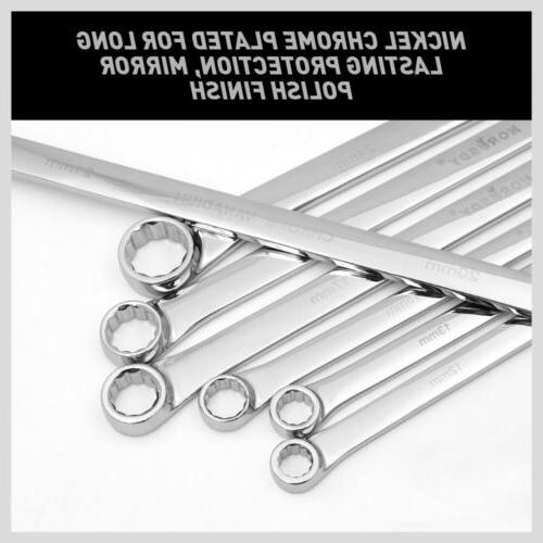 7PC Aviation Long Double Ring Spanner Set 10mm - 24mm Canvas