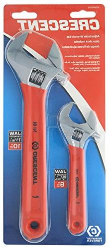 Crescent 6 in. and 10 in. Adjustable Wrench Set in Chrome Fi