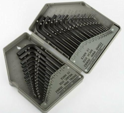 Allen Wrench Hex Key Set 30PC SAE METRIC Long Short Arm with
