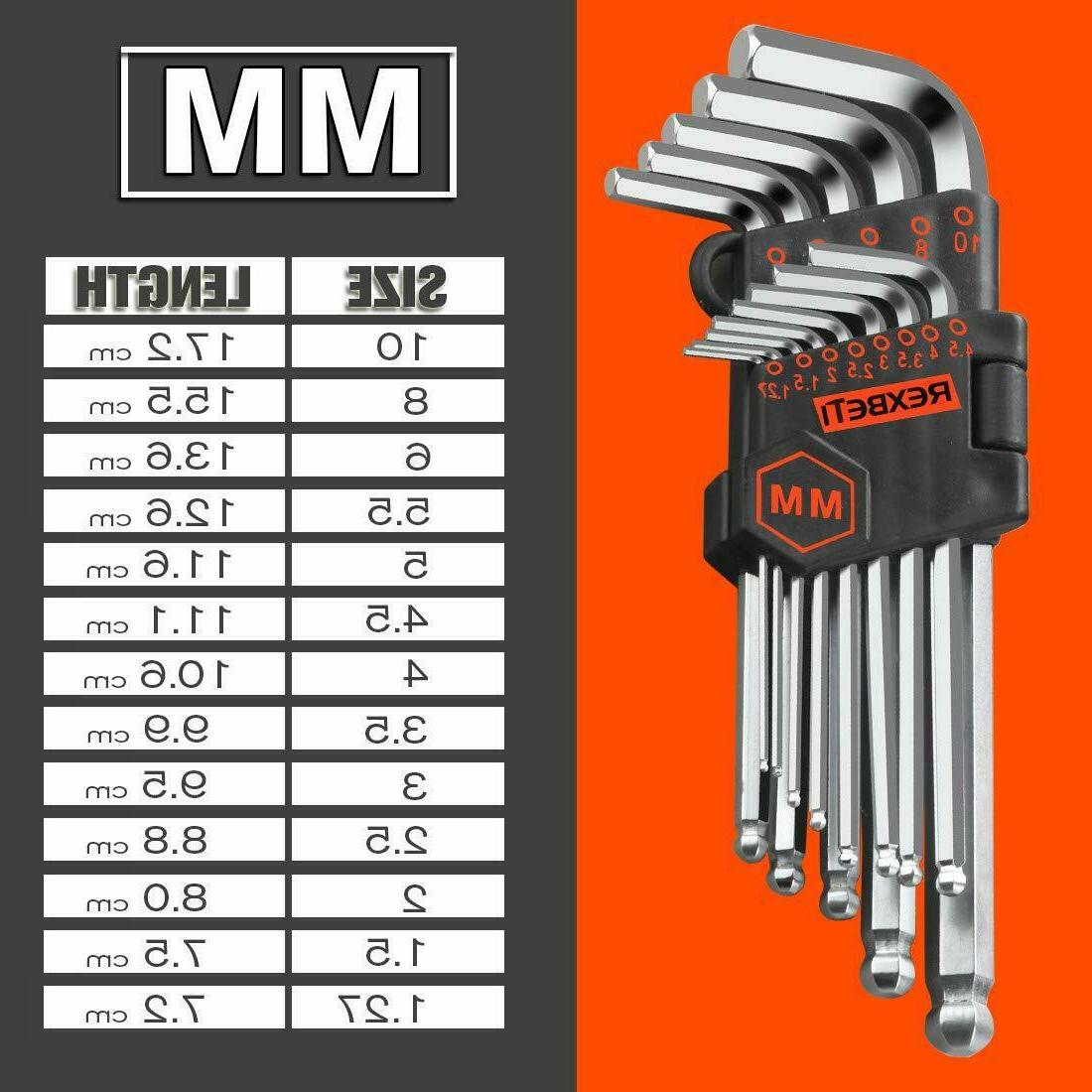 Hex Key Set SAE Long Arm Ball Industrial Grade 35PC
