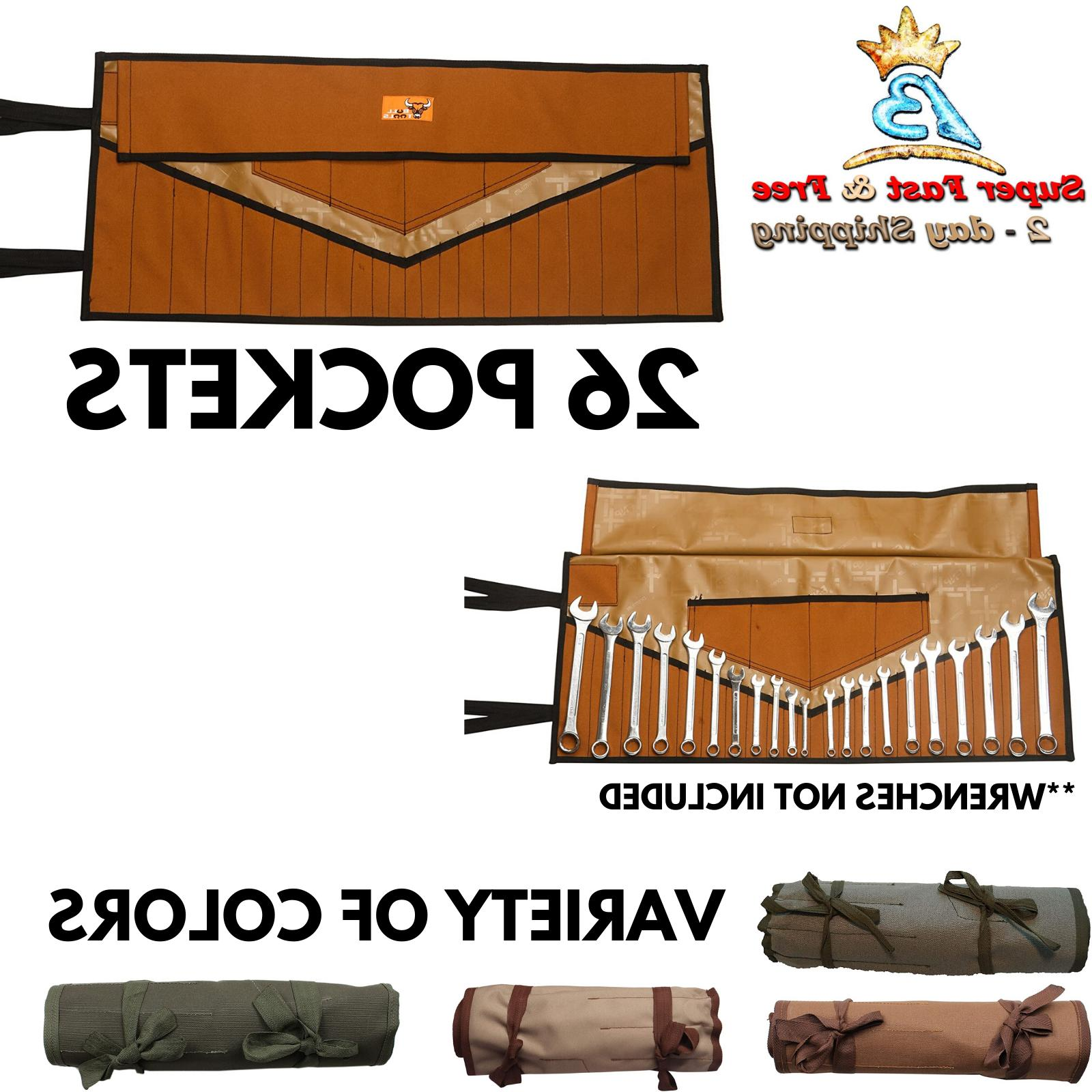 Roll Tool Pouch Wrench Hand Bag Slot Organizer Holder Canvas