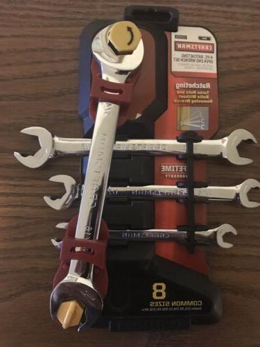 metric ratcheting open wrench set
