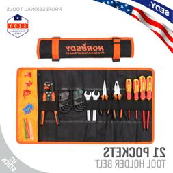 Large Tool Roll Up Pouch Bag Wrench Organizer 21 Pockets Eas