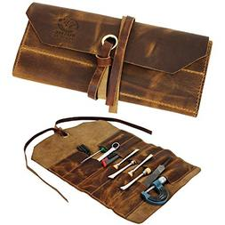 Leather Tool Roll Up Pouch - Leather Tool Wrench Roll/Chisel