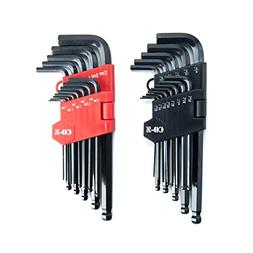 CO-Z Allen Wrenches, 26pcs Metric/Inch/Standard Hex Key Set,