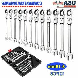 12pcs Metric 8-19mm Flexible Spanner Ratcheting Wrench Combi