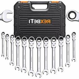 REXBETI 12-Piece Metric Flex-Head Ratcheting Wrench Set, 8-1