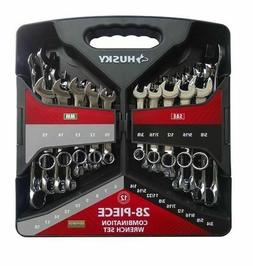 New! Husky 28-Piece Combination Wrench Set SAE And Metric
