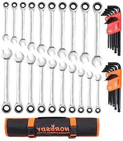 HORUSDY 20 Piece Ratcheting Wrench Set and 26 Piece Allen Wr