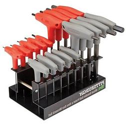 18 Pc SAE Metric T-Handle Ball Point Hex Key Set Allen Wrenc