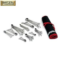 Husky SAE/MM Ratcheting Wrench Set with Stubby and Pouch