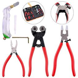 Hilitchi 5Pcs Wheeled Glass Tile Nipper Running Plier Breaki